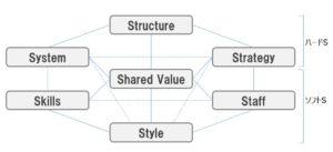 マッキンゼーの7S(Strategy, Structure System, Skill Style, Staff, Shared Value)